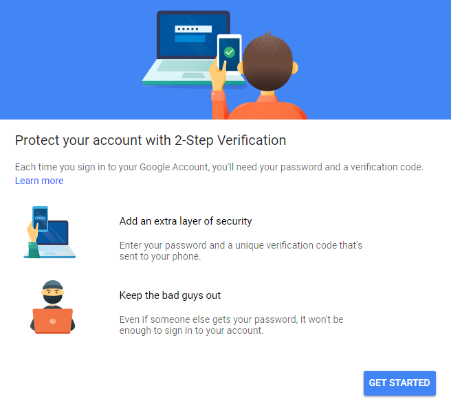 google 2 step security
